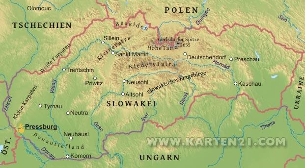 Physische karte von slowakei